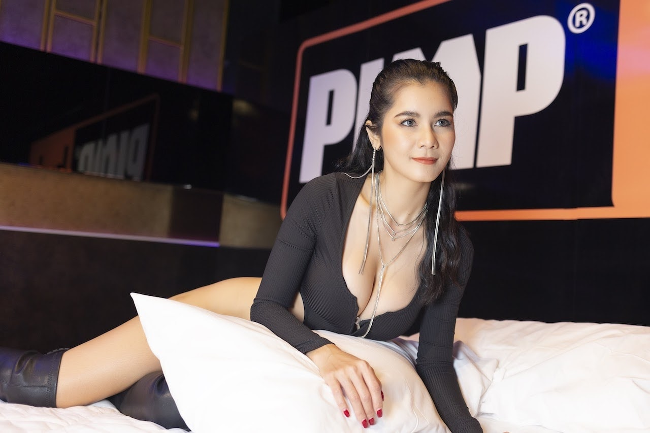 Natt Chanapa posing in a sexy suit and beautiful jewelry at the best gentlemen club in Bangkok