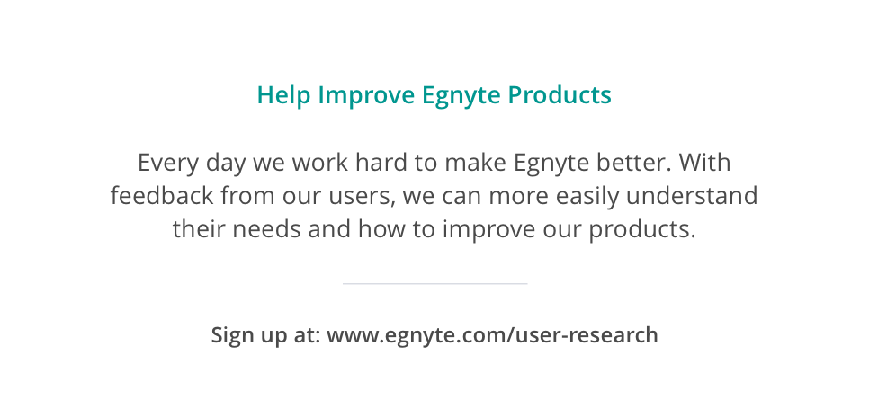 Scalable User Research Recruitment - Egnyte Blog