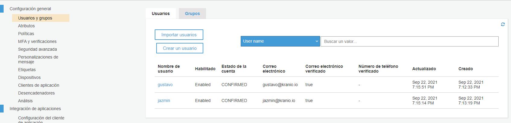 consola de cognito para definir usuarios manulamente
