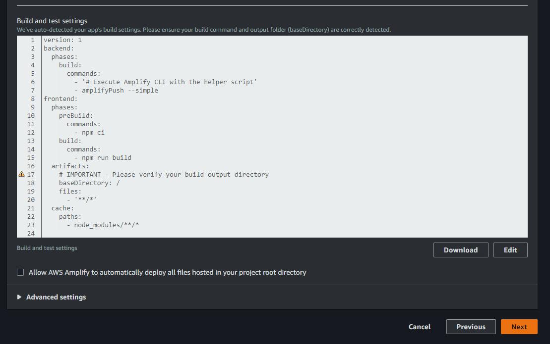 click para permitir deploy automatico aws amplify