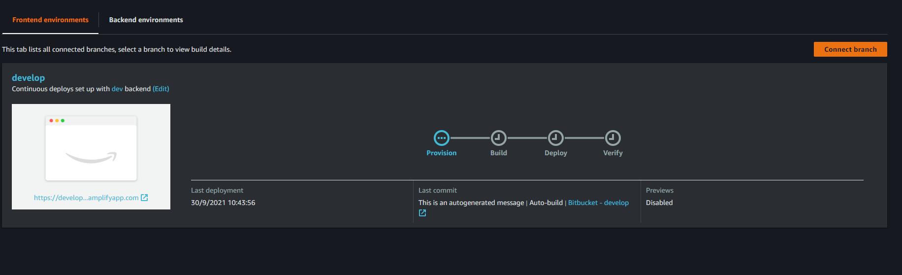 confirmación del deploy de la aplicación con aws amplify