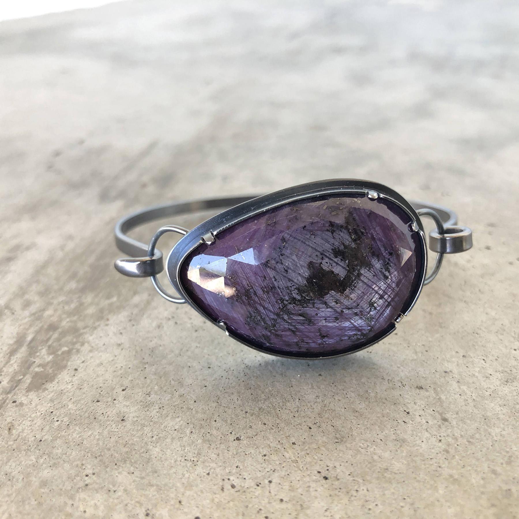 star sapphire reverse cuff bracelet