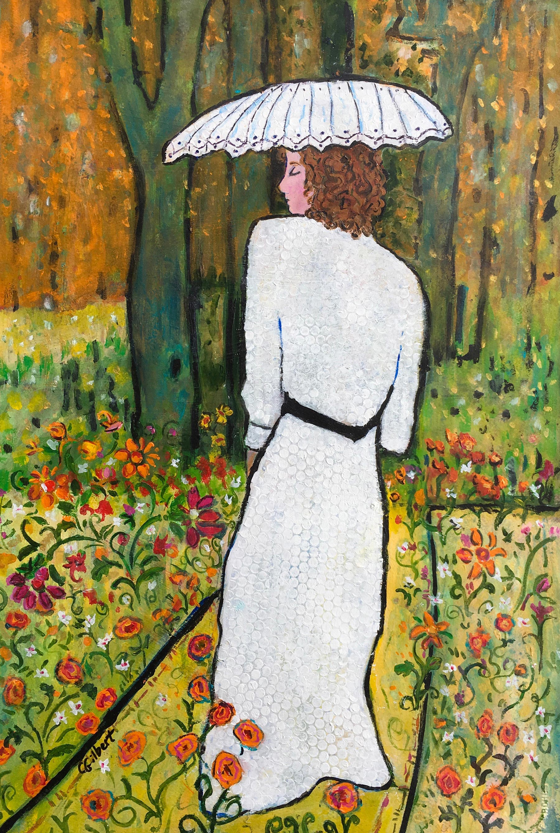 Woman in White with Umbrella
