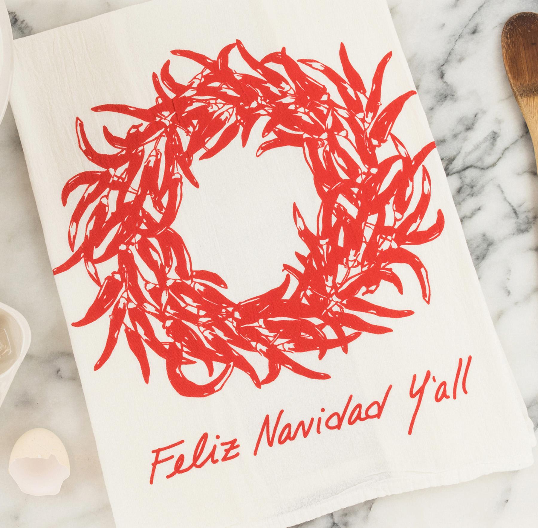 Feliz Navidad Y'all Tea Towel
