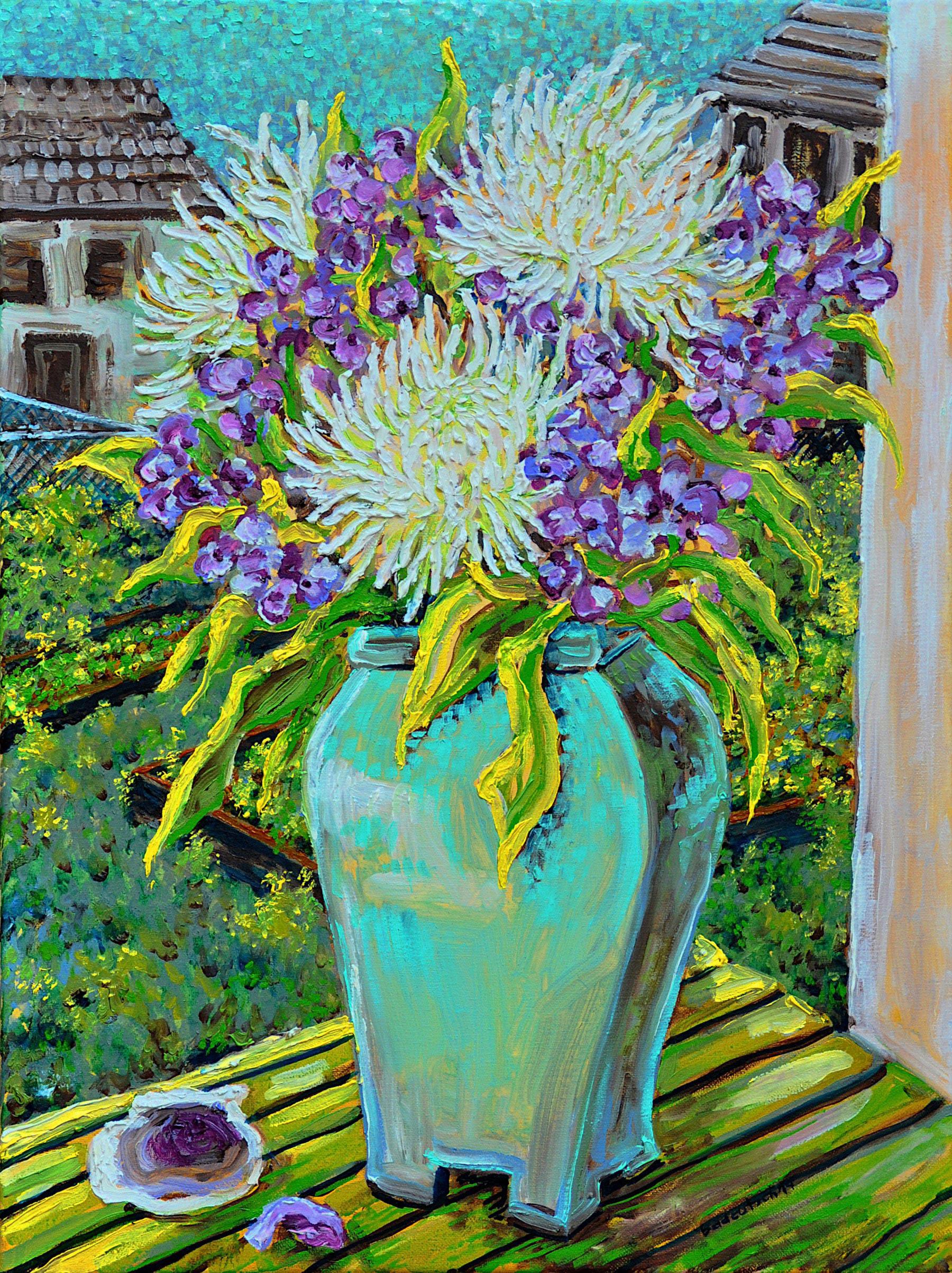 Blue Vase White Mums