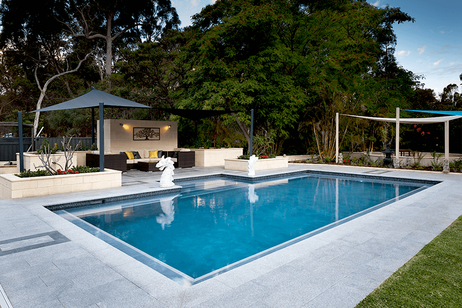 pool with back patio and outdoor entertaining area