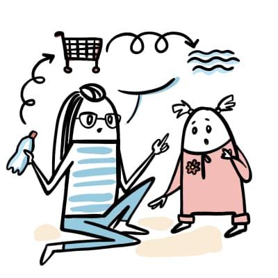 La maman de Juliette lui explique l'impact des dechets plastiques sur ocean