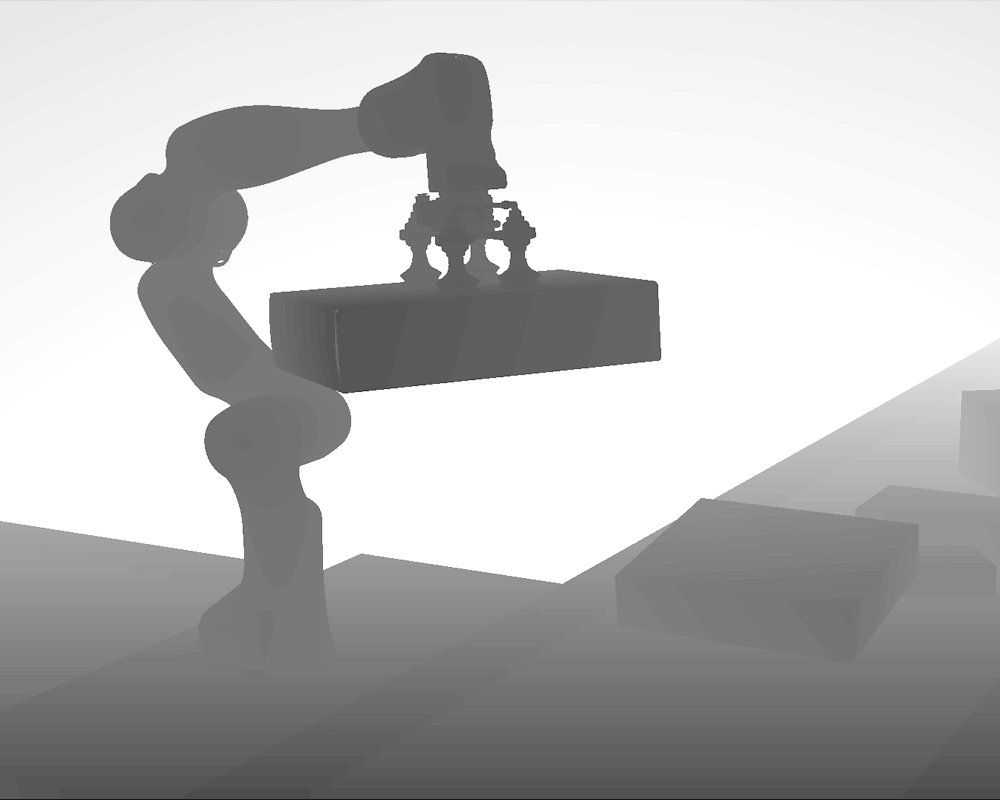 Depth data for image of a robot picking up a box