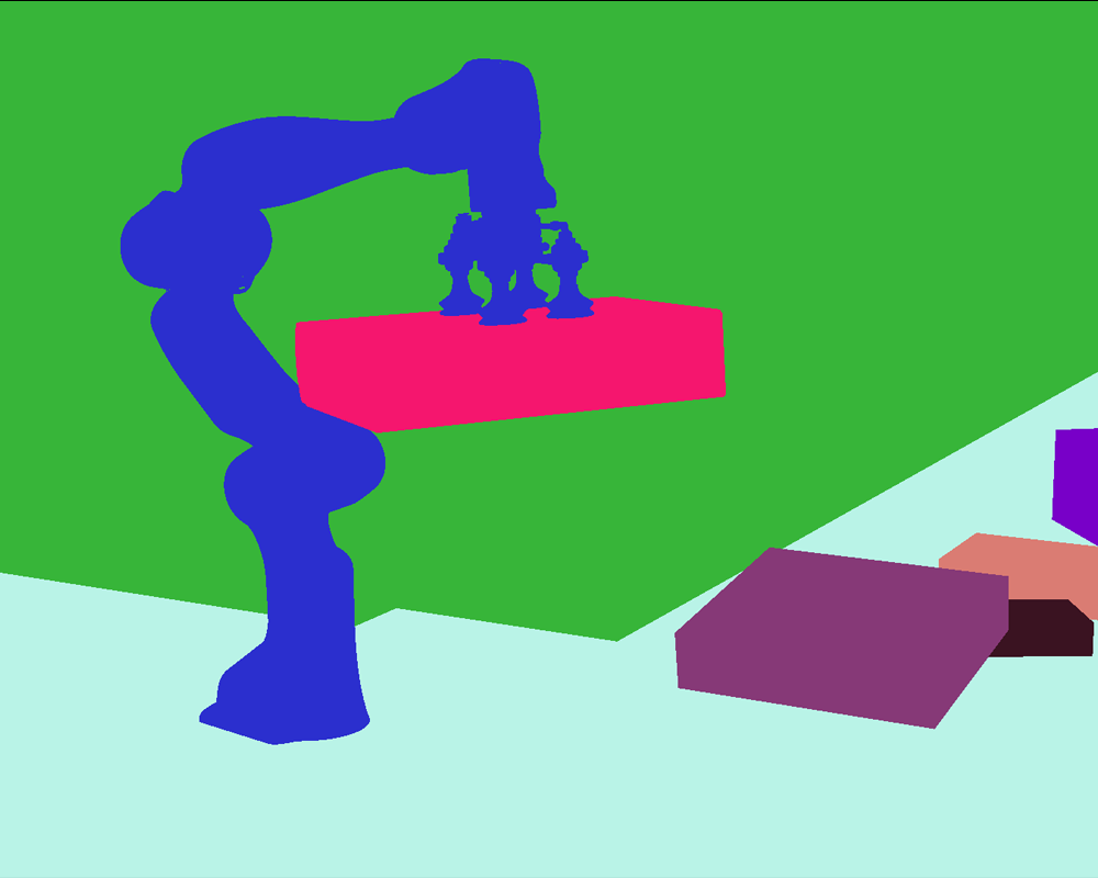 Segmentation annotations for image of a robot picking up a box