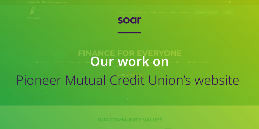 Our work on Pioneer Mutual Credit Union's website