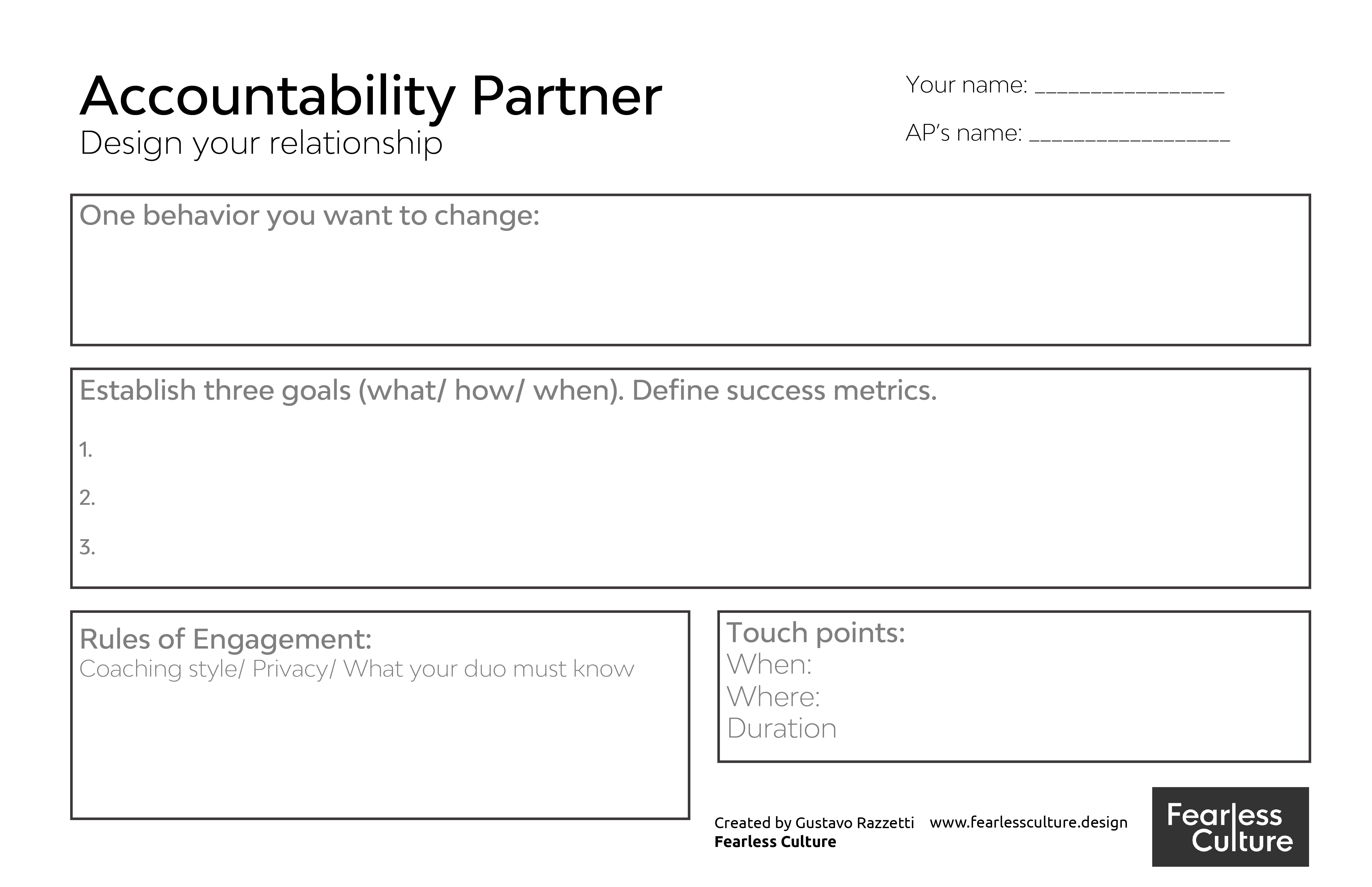 the accountability partner canvas is a tool to help success partnerships between team members to increase productivity and accountability