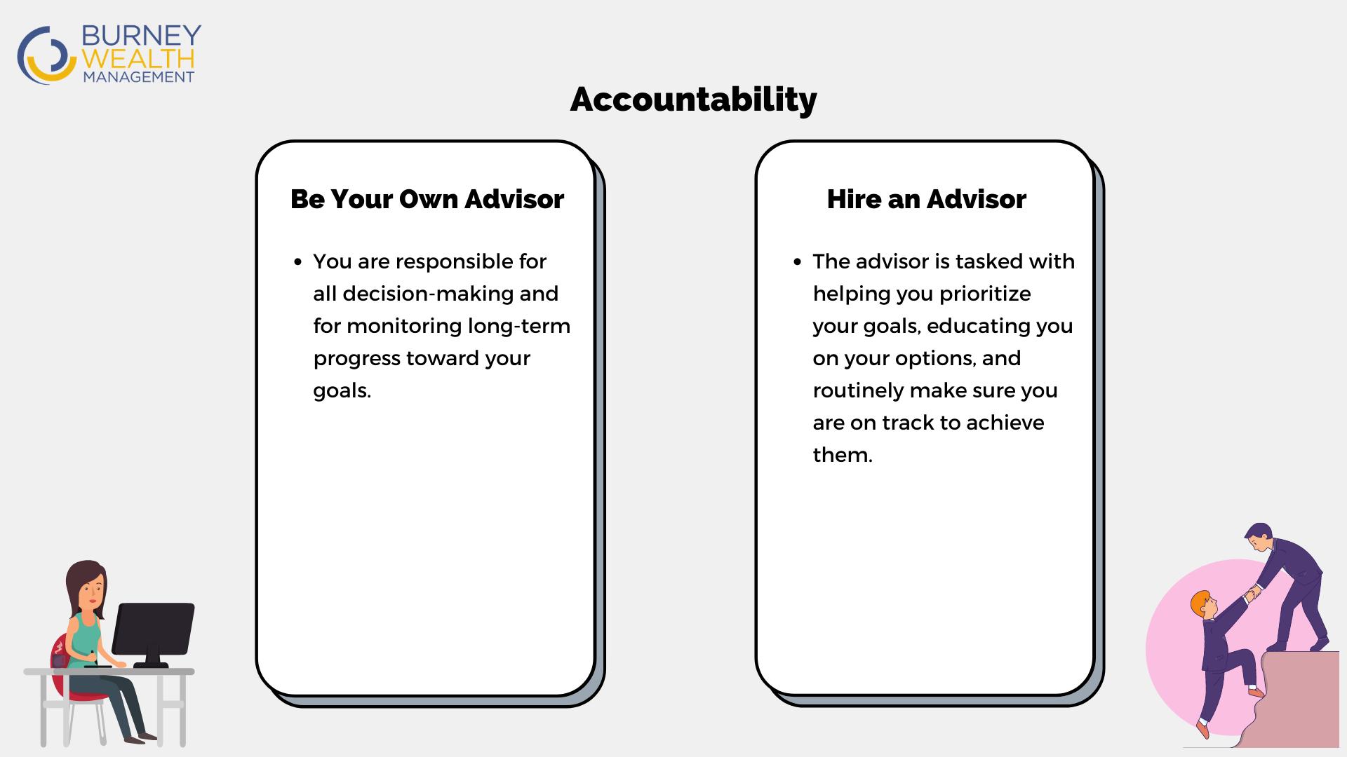 Accountability - Be your own advisor vs. Hire an advisor
