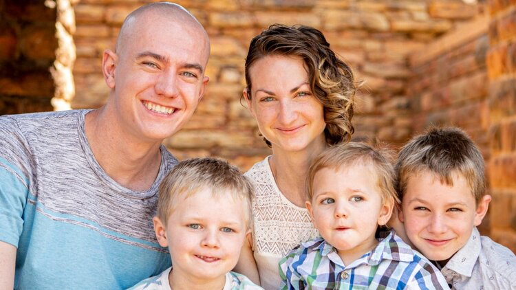 Brett and Sydney with their sons Judah (6), Emmitt (2), and Isaac (9)