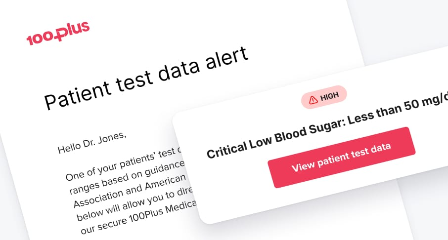 Patient test data alert email