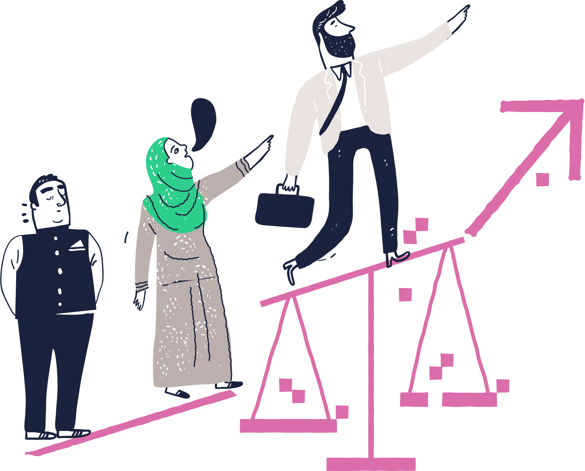 Illustration of people and a scale