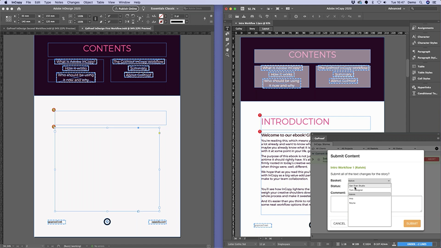 Content drop from Adobe InCopy to Adobe InDesign via the GoCopy cloud