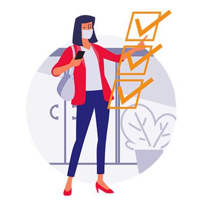person with covid pilot app checklist