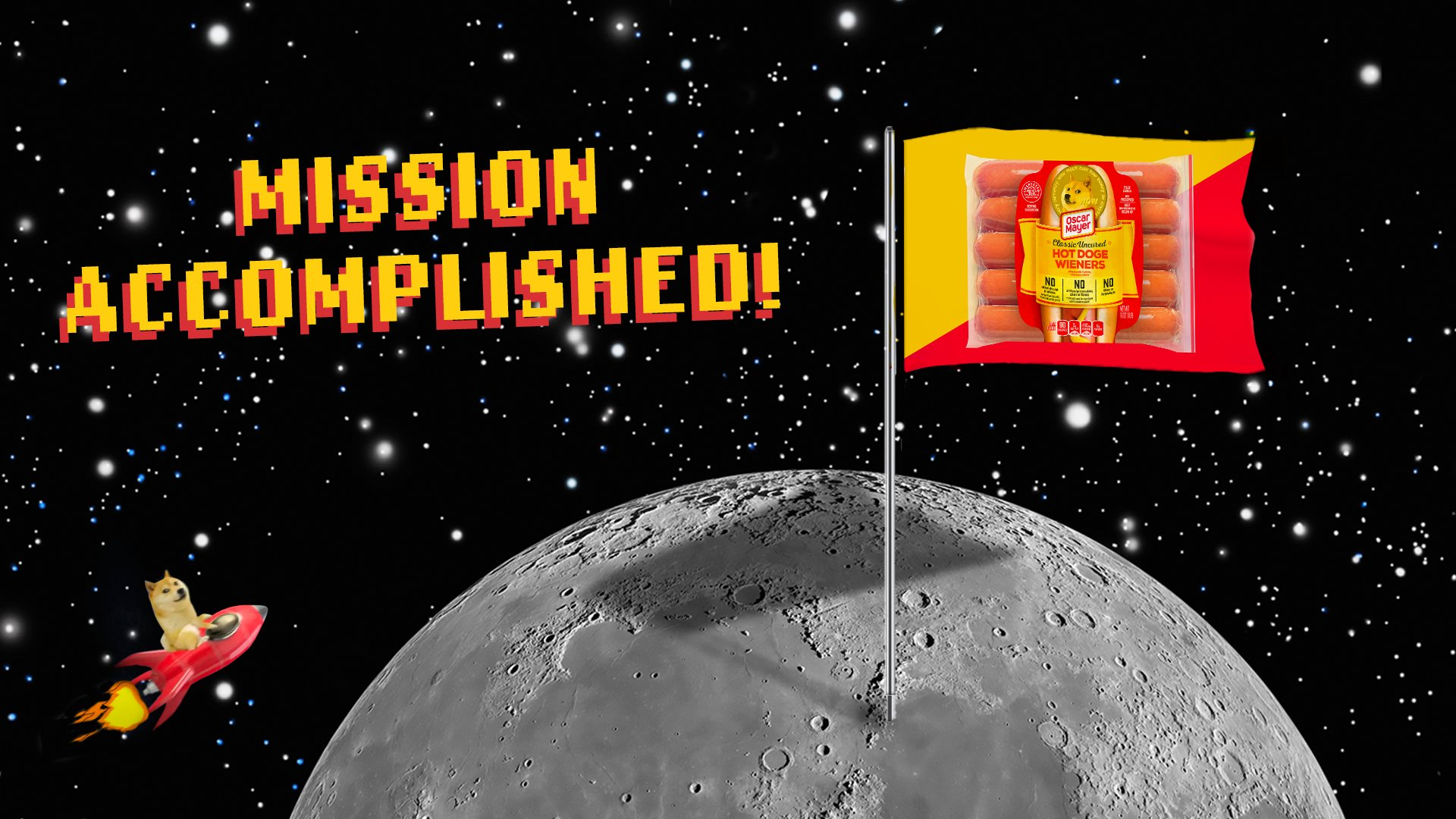 """A moon with a hot doge flag with the caption """"Missions Accomplished!"""""""