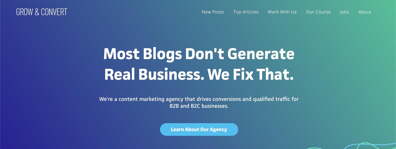 Blogs for entrepreneurs #17: Grow & Convert's blog