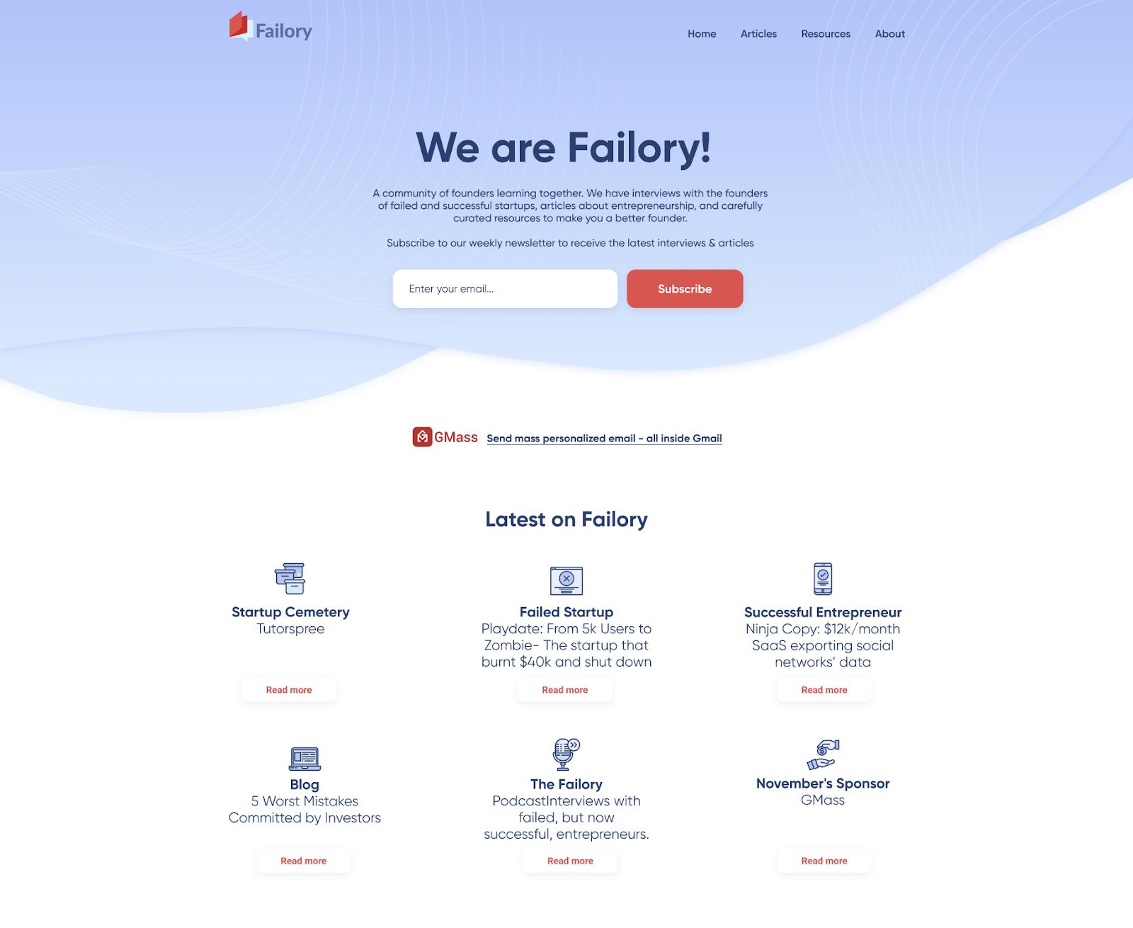 Failory's ugly website