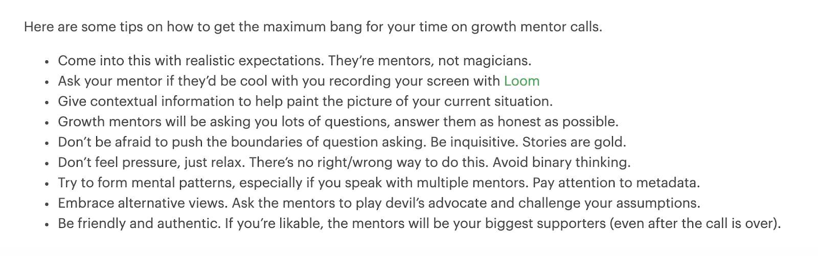 GrowthMentor's tips