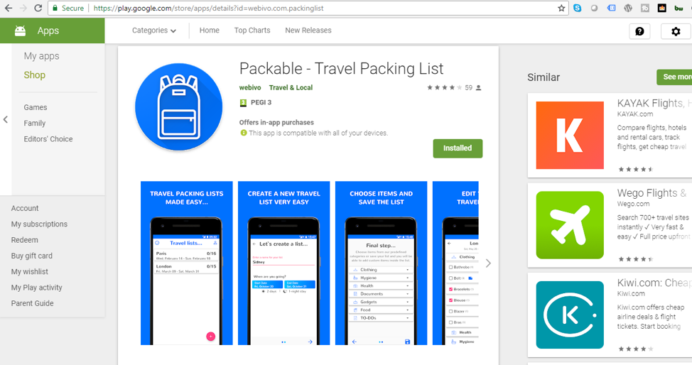 Packable Google Store