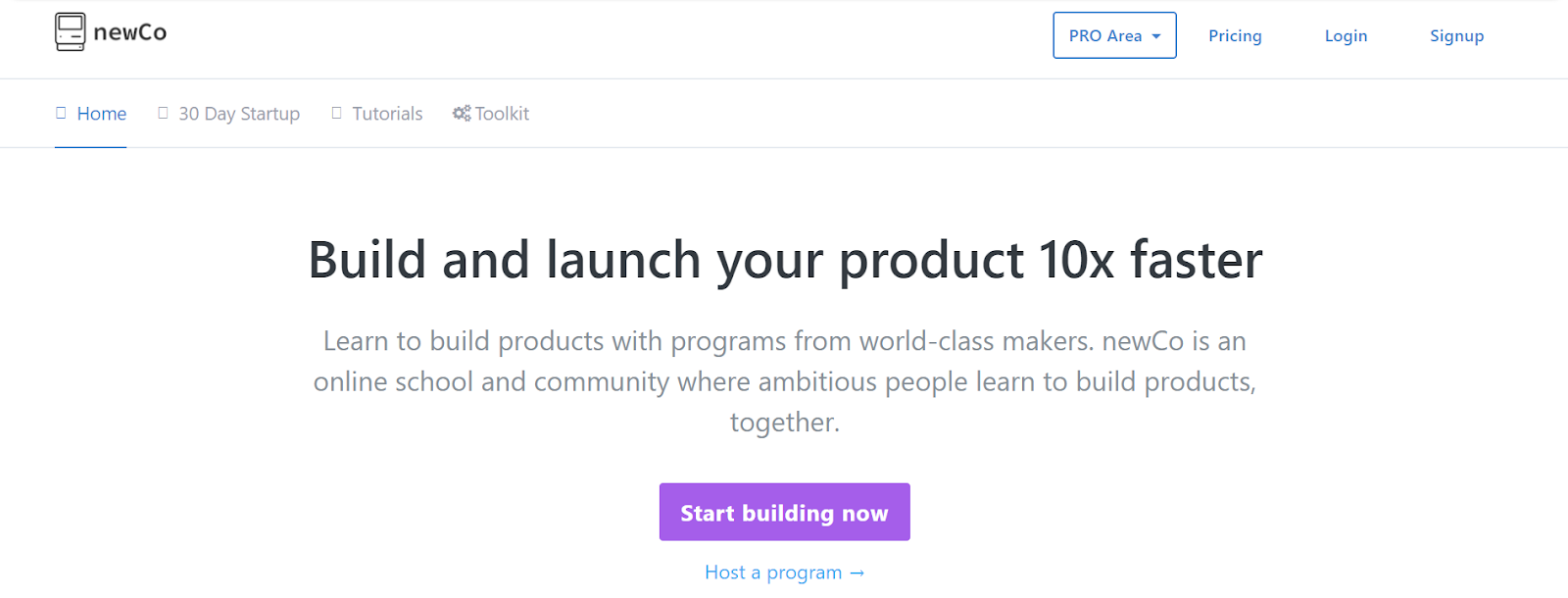 NewCo's homepage