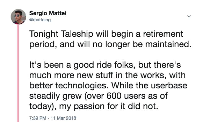 Taleship Shutdown Tweet