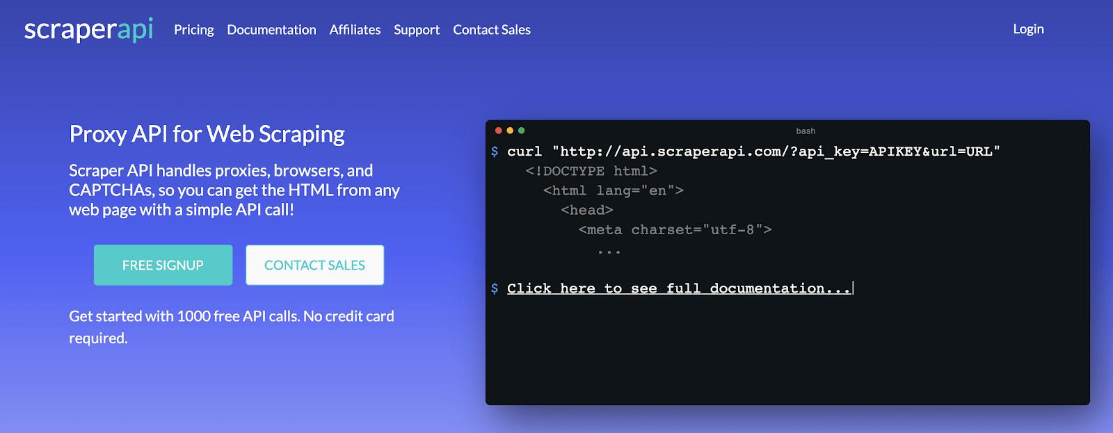 Scraper API Landing Page