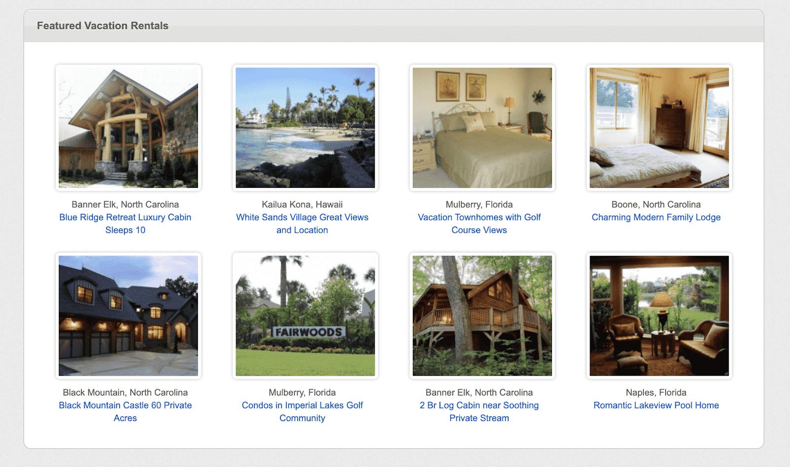 Vacation Bird Featured Rentals