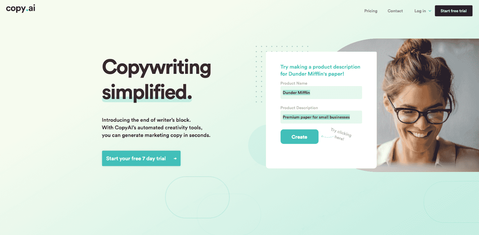 CopyAI Landing Page