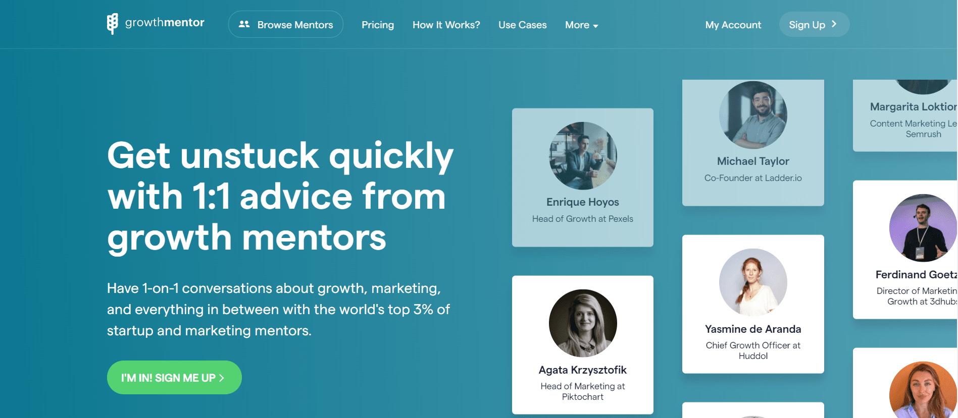 GrowthMentor's Landing Page