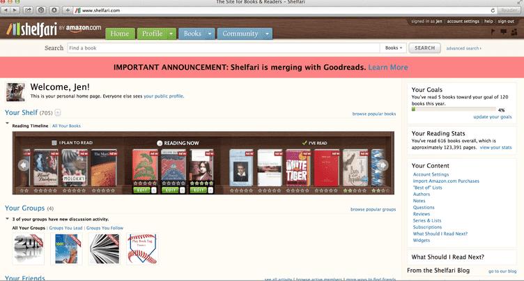 Amazon Shelfari Homepage