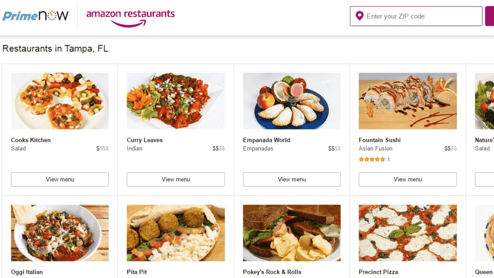 Amazon Restaurants Delivery Service