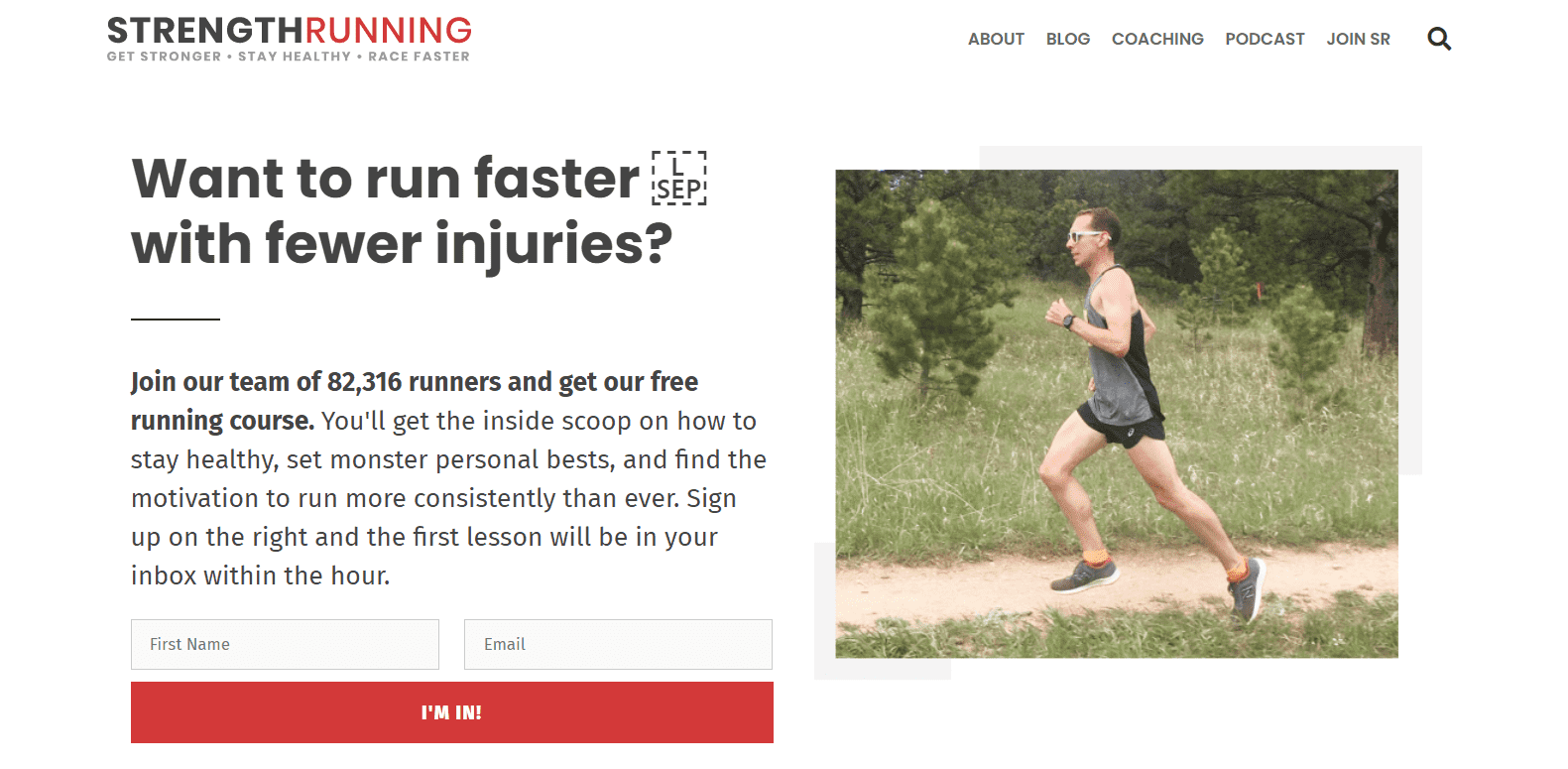 Strength Running Landing Page