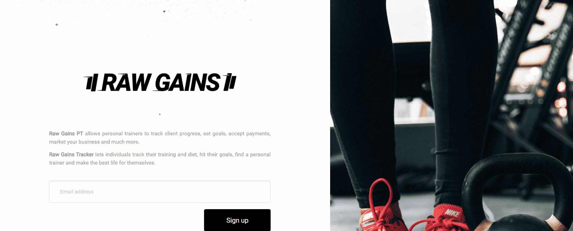 Raw Gains Landing Page