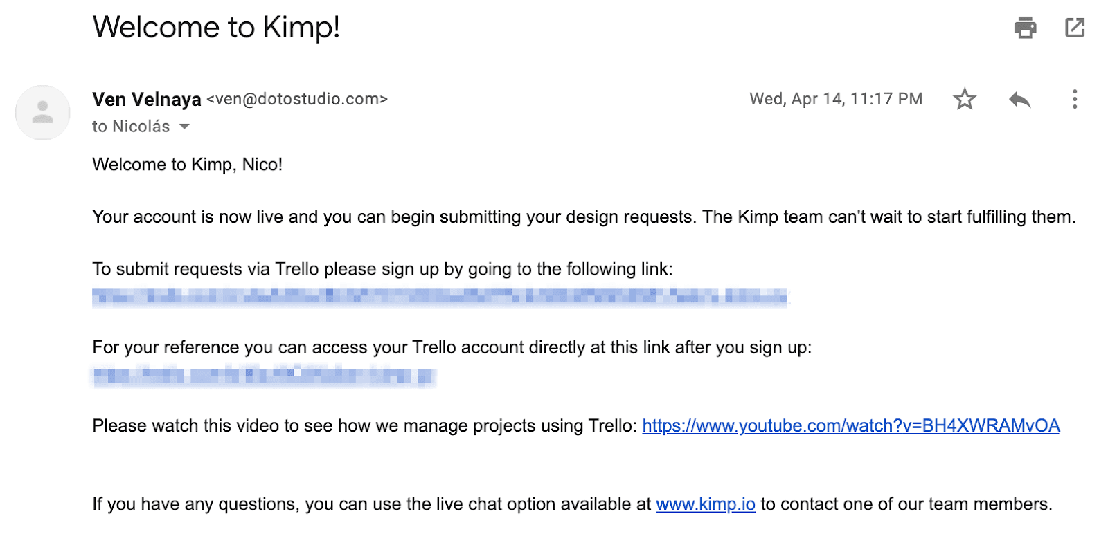 Kimp Welcome Email