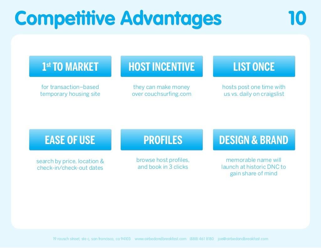 Airbnb Pitch Deck Competitve Advantages Slide