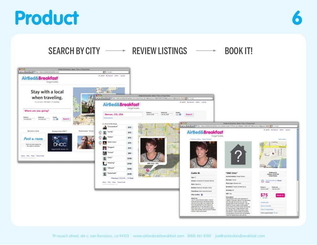 Airbnb Pitch Deck Product Slide