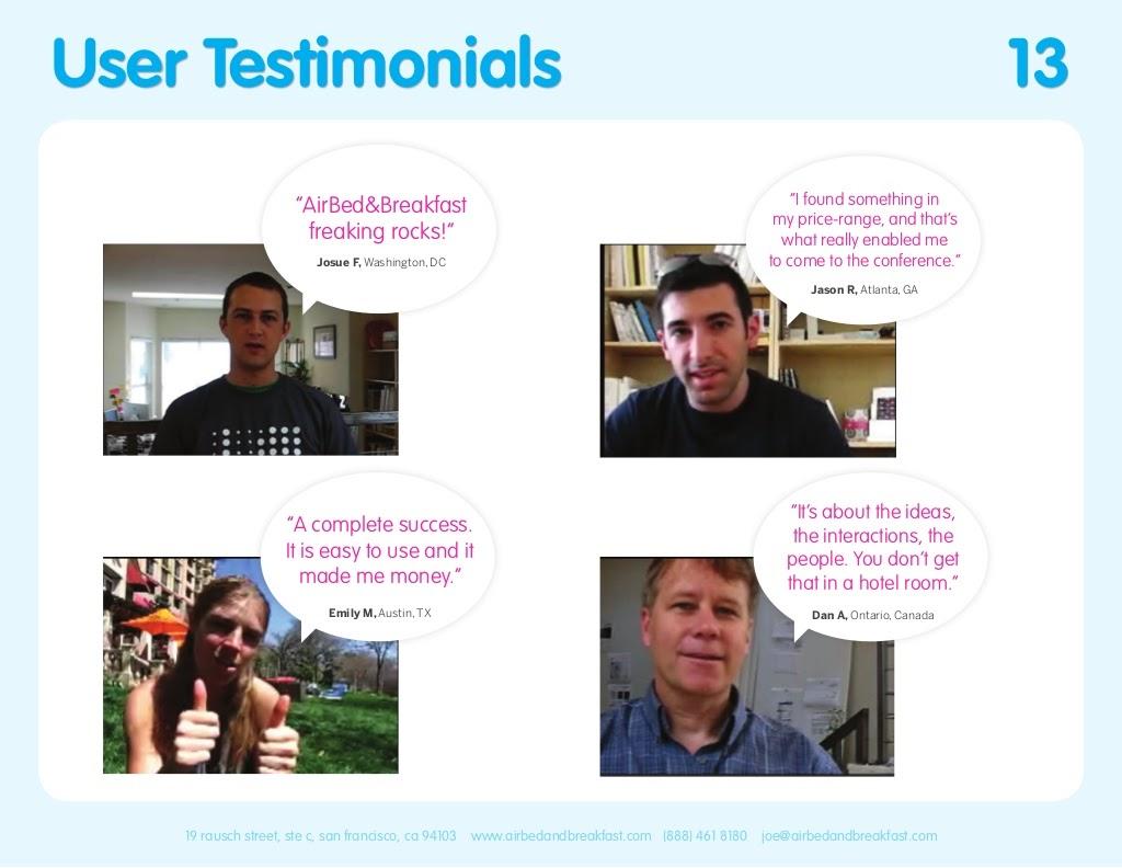 Airbnb Pitch Deck User Testimonials Slide