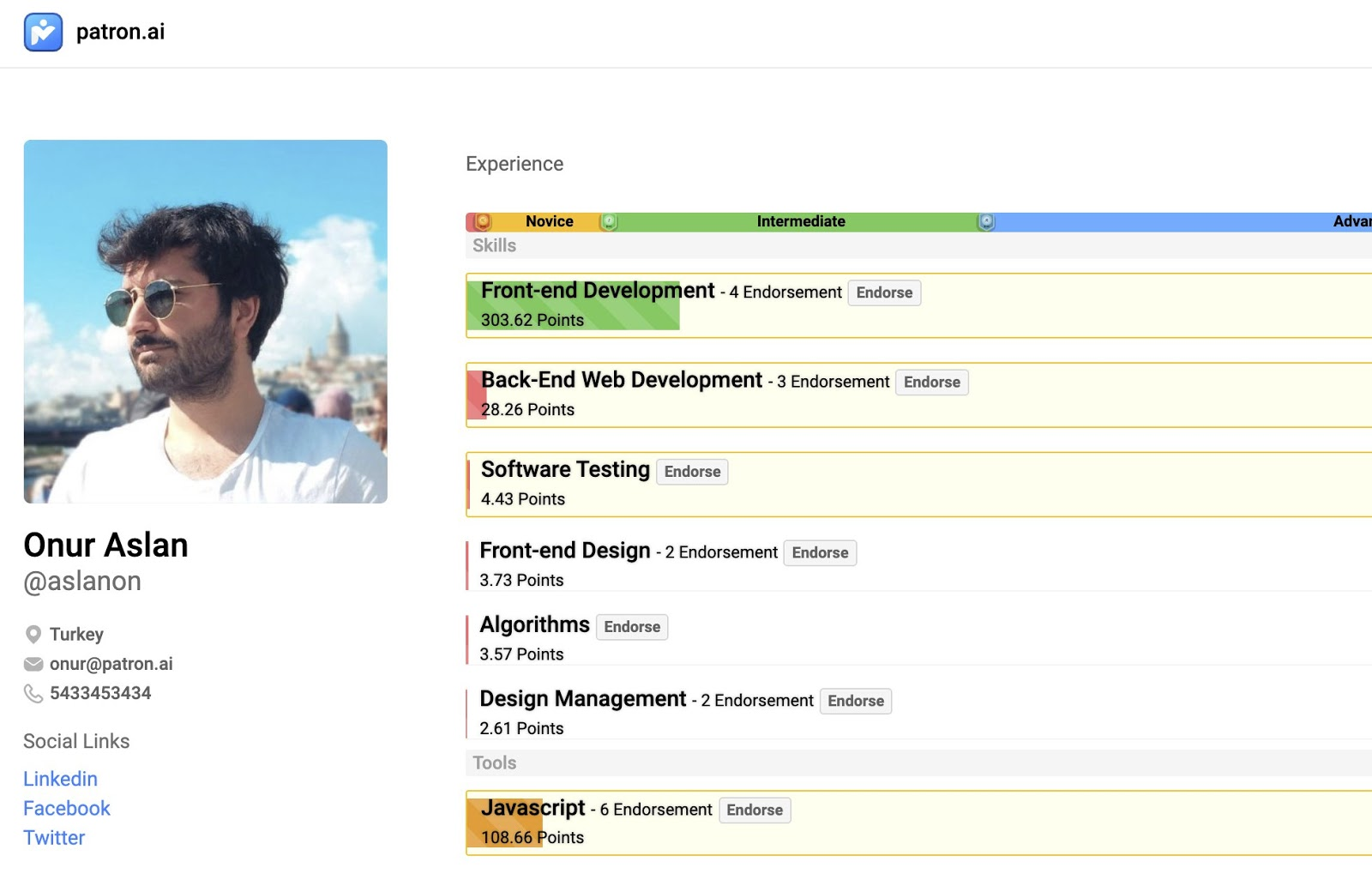 Patron.ai Profile Feature