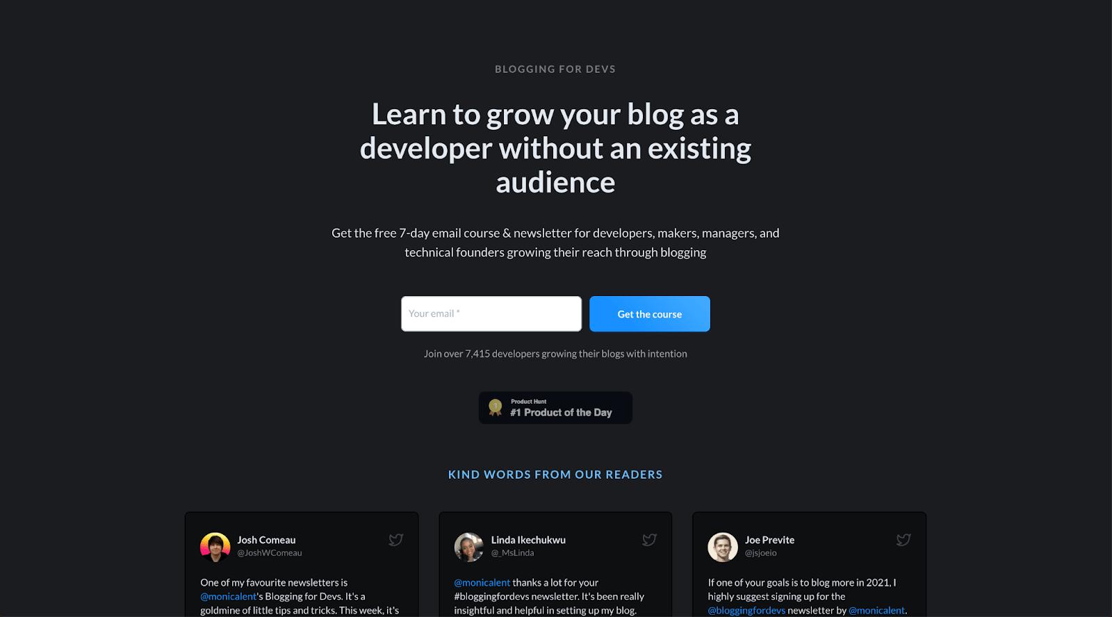 Blogging for Devs Landing Page