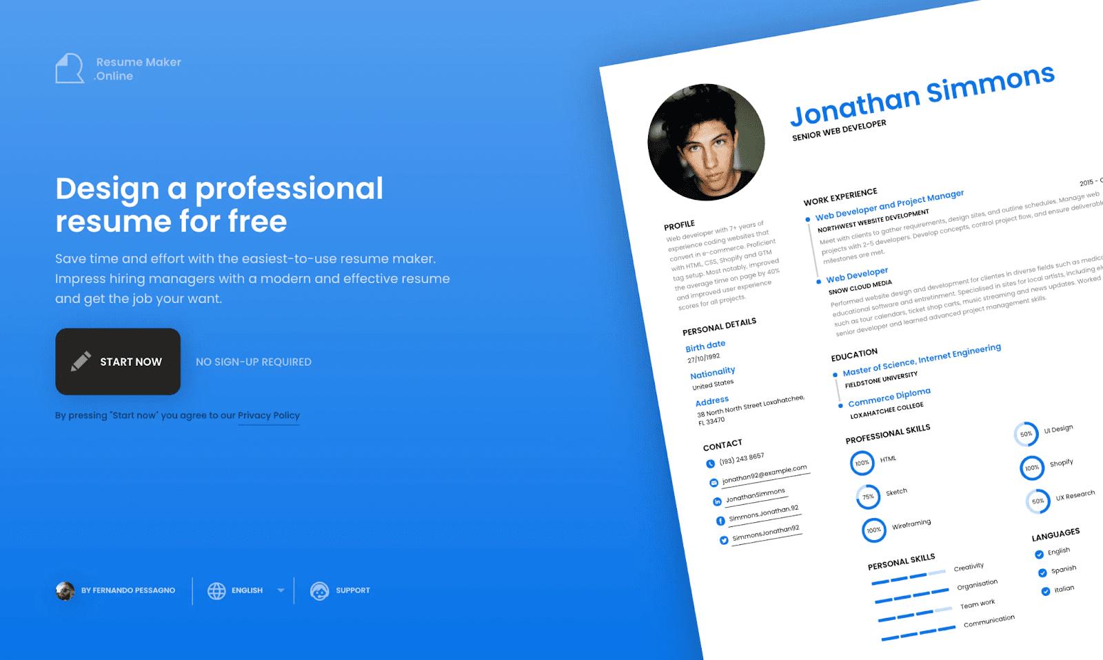 ResumeMaker Landing Page