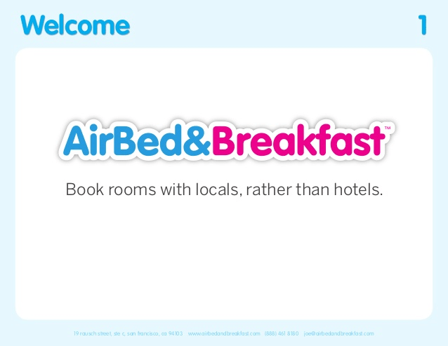 Airbnb Pitch Deck Welcome Slide