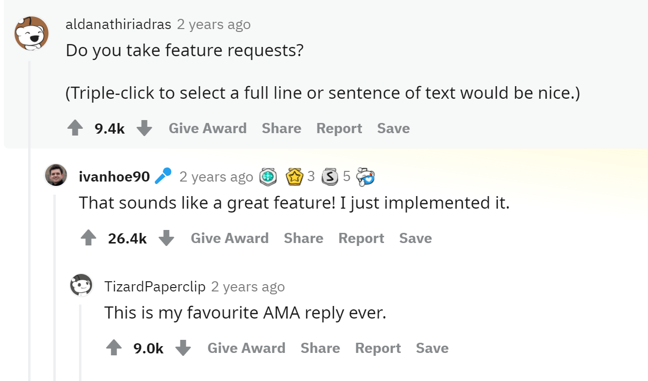 Ivan's AMA Feature Reply
