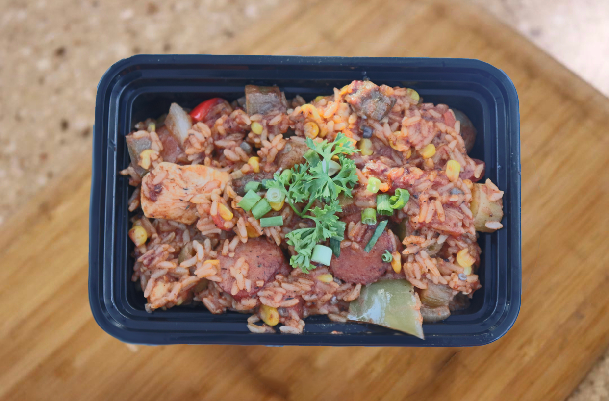 A traditional rice and tomato based dish made with bell peppers, onion, corn, okra and our own special blend of creole seasoning. You have the option of vegetarian, the classic w/ chicken andouille sausage & chicken breast, or a combo with chicken andouille sausage, chicken breast & shrimp.
