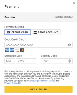 Payment image with credit card selection
