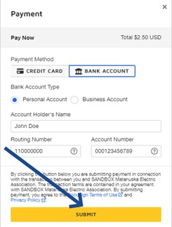 Payment image, submit button