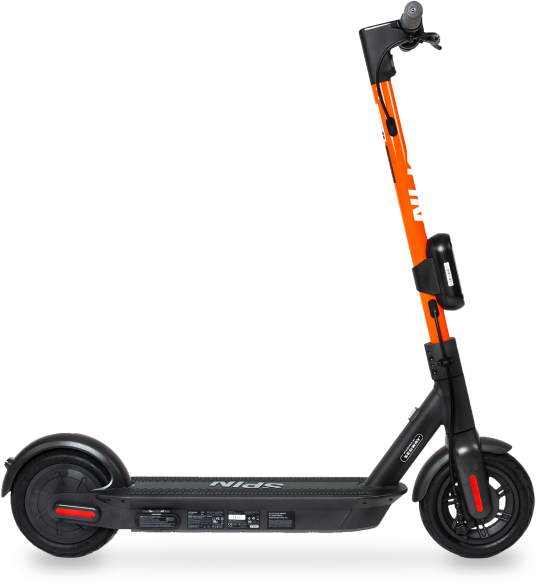 Profile view of a Spin electric scooter