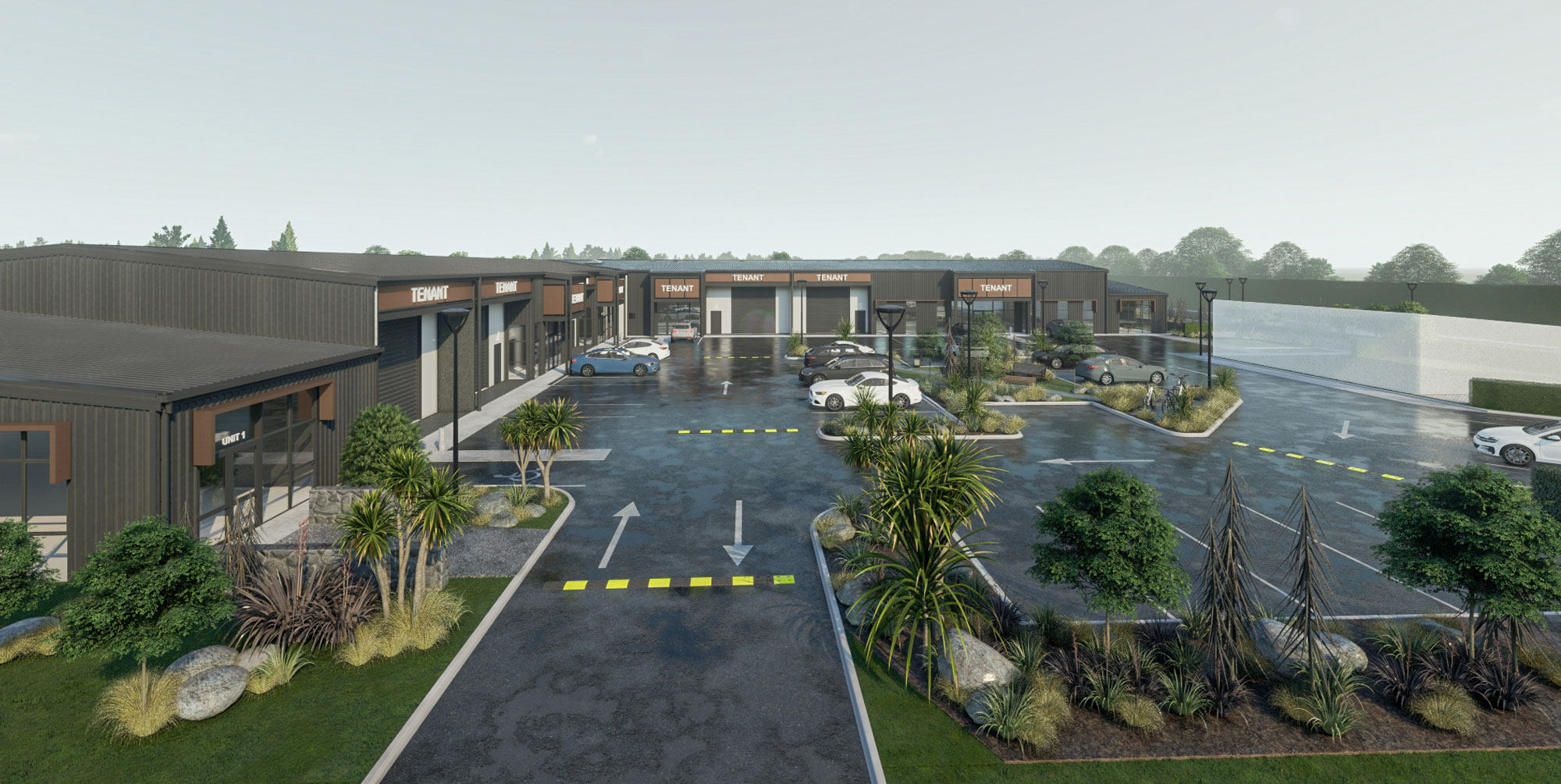 3D render from the Design team at Cohesive Group of a Commercial shopping centre